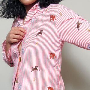 VINTAGE Puppy Embroidered Striped Button Up Shirt